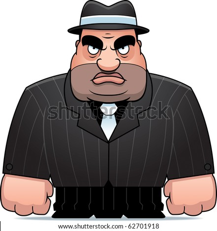 A big cartoon mobster in a suit. - stock vector