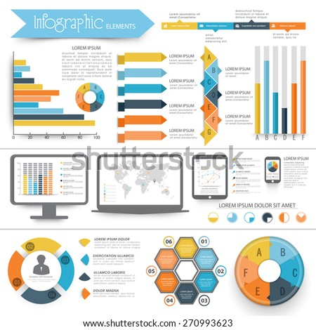 A big collection of Infographic elements with digital devices showing graphs, bars and world map. - stock vector