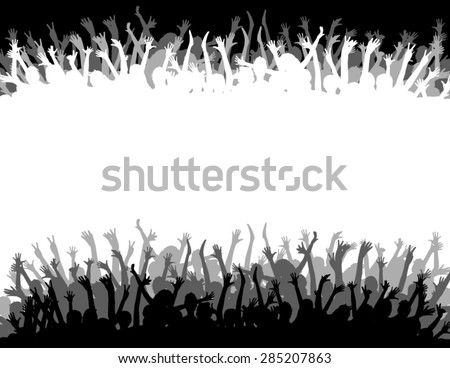 A big crowd with lots of people cheering and excited - stock vector