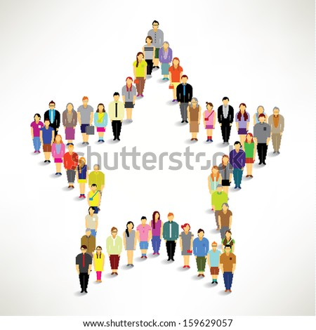 A Big Group of People Gather Together In Star Shape Vector Design - stock vector