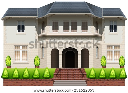 A big house with plants on a white background  - stock vector