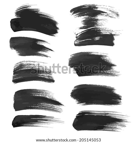 A big set of abstract realistic smears of black ink - stock vector