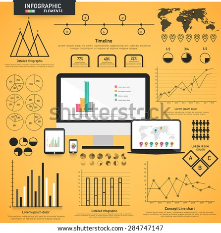 A big set of various statistical business infographic elements with modern digital devices presentation on yellow background.  - stock vector
