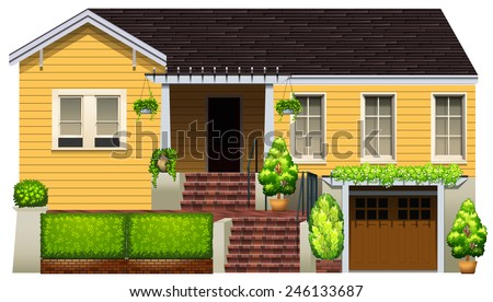 A big yellow house on a white background - stock vector