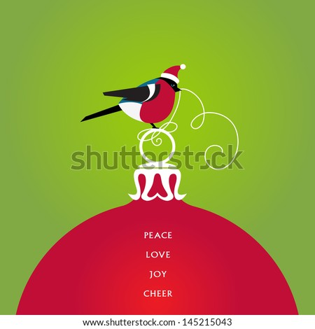 A bird in a cute red hat seats on a christmas ball. Season�s Greetings. Vector EPS 10 illustration. - stock vector