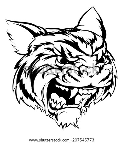 A black and white illustration of a fierce tiger animal character or sports mascot - stock vector