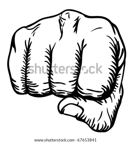 a black and white illustration of a front view of a right human hand punching towards you - stock vector