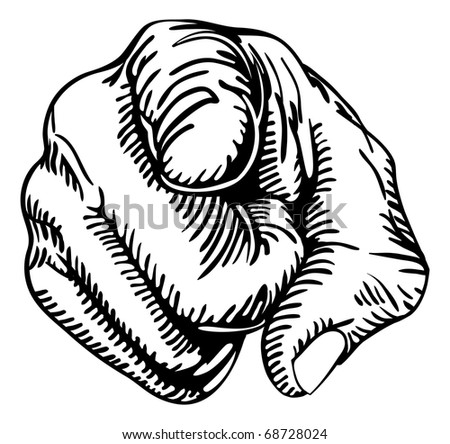 a black and white illustration of a human hand with the finger pointing or gesturing towards you. - stock vector