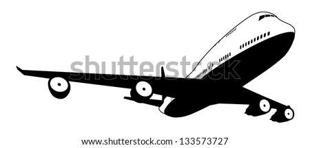 A black and white illustration of a stylised commercial jet plane - stock vector