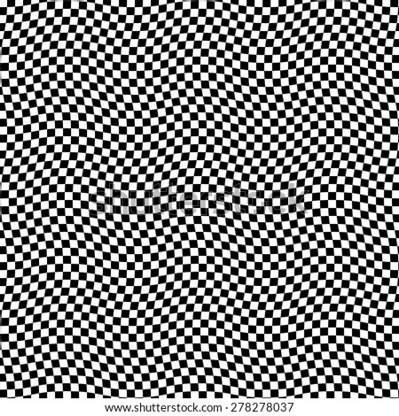 A black and white optical illusion.chess optical effect. SEAMLESS creative pattern. Vector modern background. smooth zigzag - stock vector