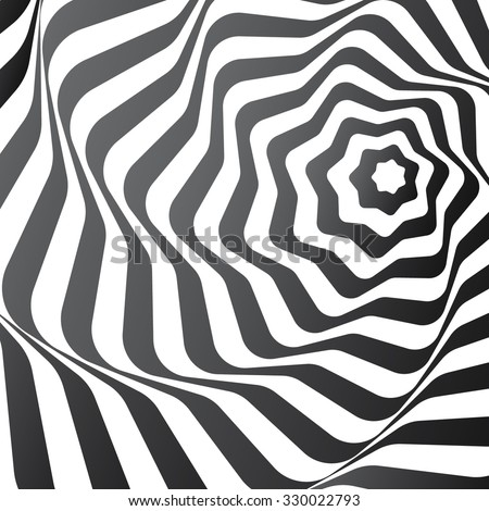 A black and white optical illusion. Vasarely optical effect. Vector Illustration. - stock vector