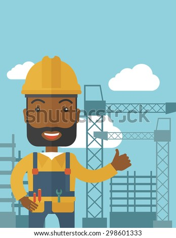 A black construction worker standing with crane tower background. A Contemporary style with pastel palette, soft blue tinted background with desaturated clouds. Vector flat design illustration - stock vector
