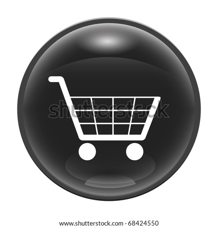A black glossy web icon with a trolley - stock vector