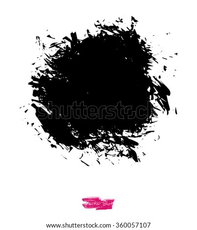 A black handmade vector blot or blob with grunge icy texture against white background - stock vector