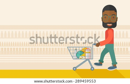 A black male shopper pushing a shopping cart inside the supermarket. A Contemporary style with pastel palette, soft beige tinted background. Vector flat design illustration. Horizontal layout with - stock vector