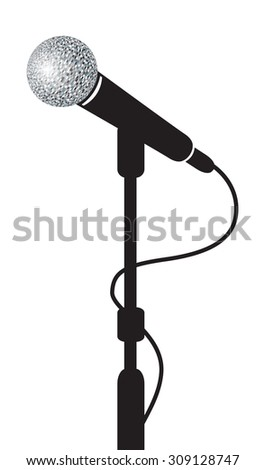 a black microphone stand background - stock vector