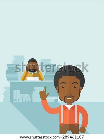 A black office clerk has a lot of works to do with those papers in front of him, problem on how to meet the deadline of his report. Disappointment concept. A Contemporary style with pastel palette - stock vector