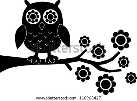 a black owl - stock vector