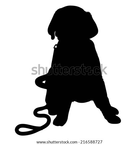 A black silhouette of a Labrador Retriever puppy with a leash by its side - stock vector