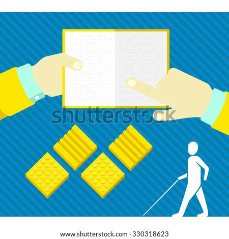 a blind man, tactile tile, reading a book in Braille - stock vector
