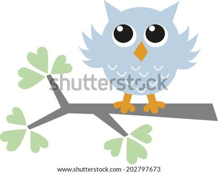 a blue little sweet owl - stock vector