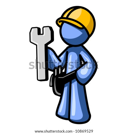 A blue man with a hard hat and wrench, good symbol for website construction, or even real construction! - stock vector
