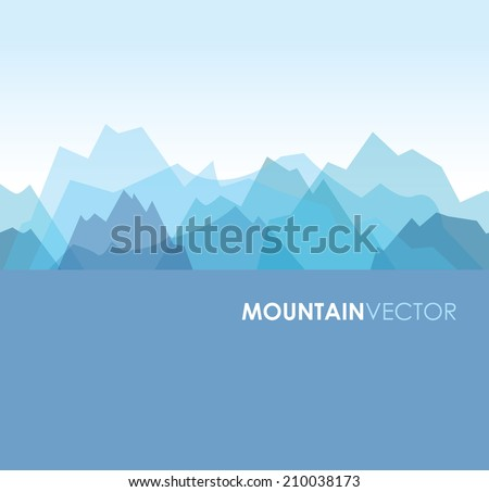 a blue overlapping green mountain background image - stock vector