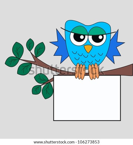 a blue owl with a sign - stock vector