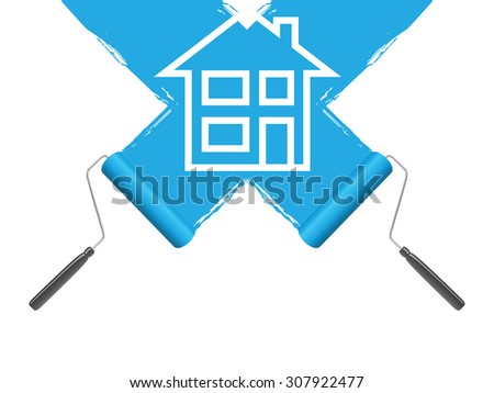 a blue paint roller background - stock vector