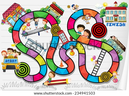 A boardgame with kids and buildings - stock vector