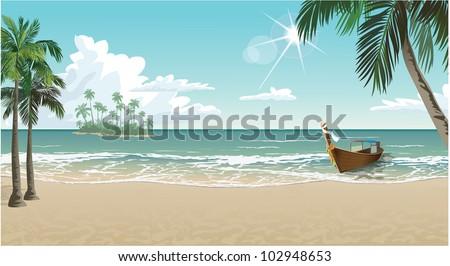 A boat on a tropical beach - stock vector