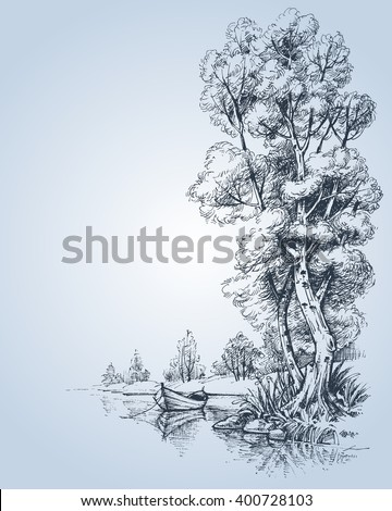 A boat on water in the park - stock vector