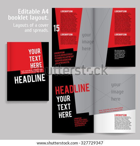 A4 book  Layout Design Template with Cover and 2 spreads of Contents Preview. For design magazines, books, annual reports. - stock vector