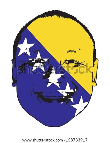A Bosnia and Herzegovina flag on a face, isolated against white.  - stock vector