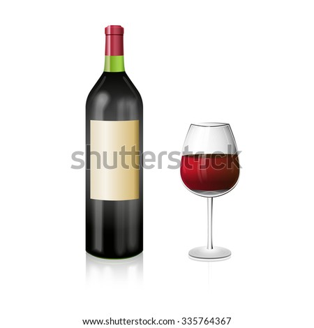 A bottle of red wine with and elegant wineglass. Realistic vector illustration. - stock vector