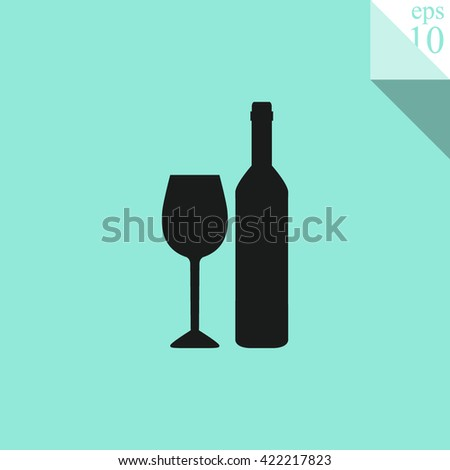 A bottle of wine and a glass Icon.  - stock vector