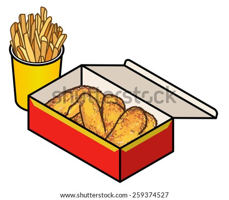A box of fried chicken and a tub of chips / fries. - stock vector