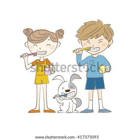 A boy, a girl and a dog brushing teeth together - stock vector
