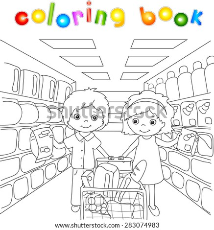 a boy and a girl are shopping in a store. coloring book for children. vector illustration - stock vector