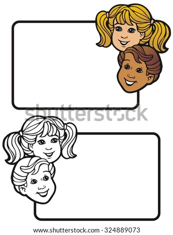a boy and a girl looking cheerful - stock vector