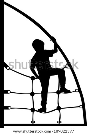 a boy climbing on the jungle gym rope in the park silhouette vector - stock vector