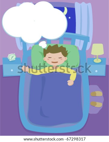 A boy dreaming in his bed at night - stock vector