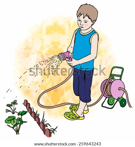 A boy of about five years old with garden hose watering vegetable garden. A hose reel cart near him. Vector illustration. - stock vector