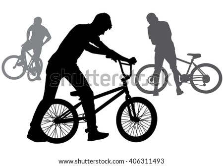 A boy rides a bicycle on a walk.  Silhouette on a white background. - stock vector