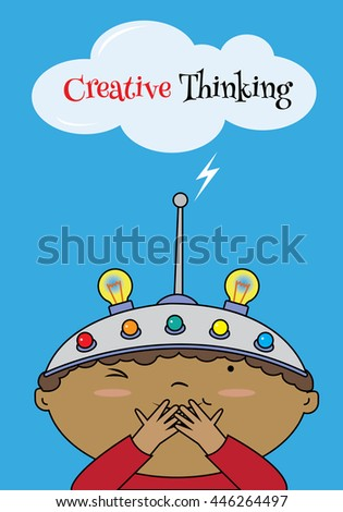 A boy wearing a thinking helmet. Blue background template - stock vector