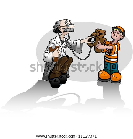 A boy with a teddy bear getting a check up from a doctor. - stock vector