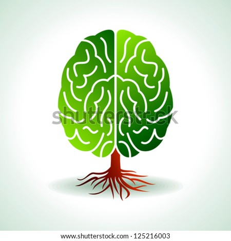 a brain growing in the shape of tree - stock vector