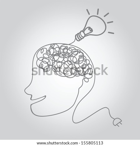 a brain on a wire with idea bulb. vector illustration. - stock vector