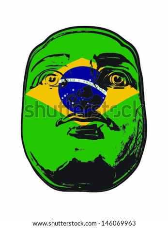 A Brazil flag on a face, isolated against white.  - stock vector