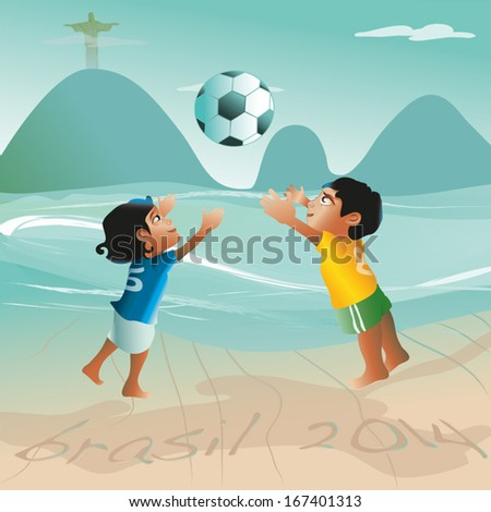 a brazilian girl and a boy in soccer wear  jumping for a ball at the beach of rio de janeiro, in the sand is written brazil 2014, in the background the sugar loaf and the statue of christo is to  seen - stock vector